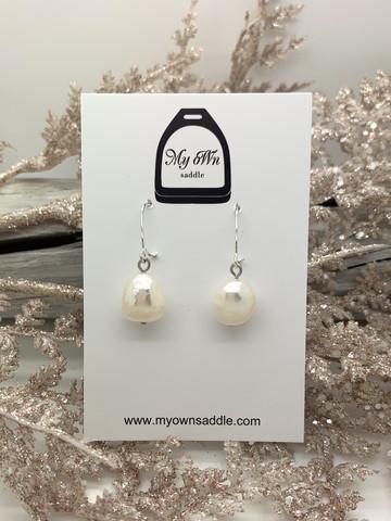 Sterling Silver 925 earrings, freshwater pearl, white