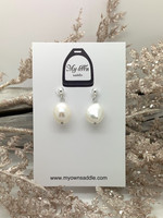 Sterling Silver 925 earrings, freshwater pearl, white