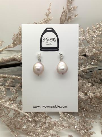 Sterling Silver 925 earrings, freshwater pearl, light pink