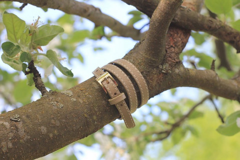 Leather bracelet with a buckle, light green