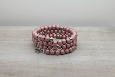 Skipper wood -bracelet, light pink