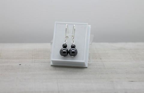Hematite balls -earrings