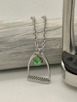 Believe -stirrup necklace 45cm dark green