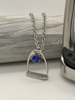 Believe -stirrup necklace 80cm dark blue