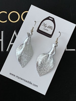 Arctic -leather earrings small, silver