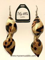 Arctic -leather earrings, big, leopard