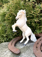 Rearing natural white horse figur