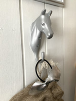 Horse head bridle holder, silver