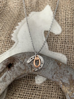 Onni - My love letter horseshoe necklace 45cm, (rosegold letter)