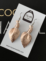 Arctic -leather earrings small, rose gold