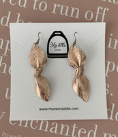 Arctic -leather earrings, big, rosegold