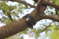 Leather bracelet with a buckle, black