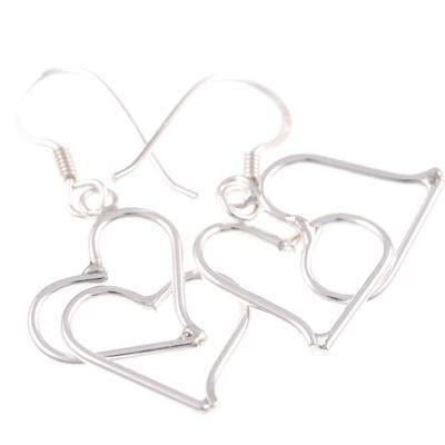 Silver Bar- Heart big twin, korvakorut hopeaa