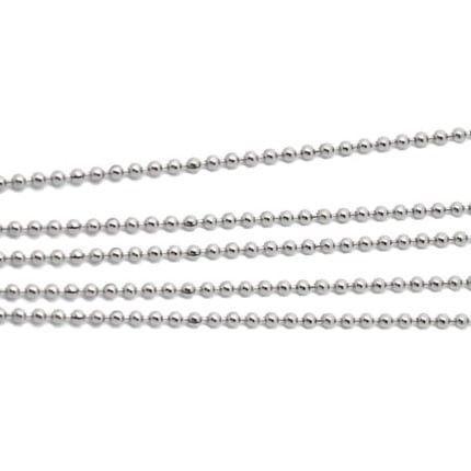 Korutuote Oy- Hopeaketju, hopea rodinoitu. 42cm. Beads Diamond Cut, palloketju