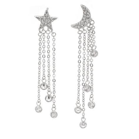 Silver Bar- Moon and star, korvakorut