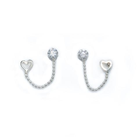 Silver Bar- Combo cz ja sydän, korvakorut hopeaa