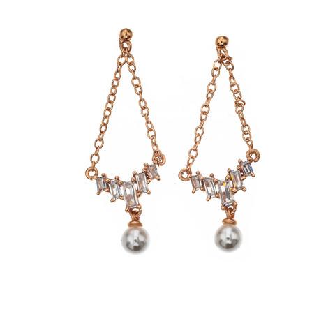 Silver Bar- Gypsy pearl baguette, kullattu hopea. Rose