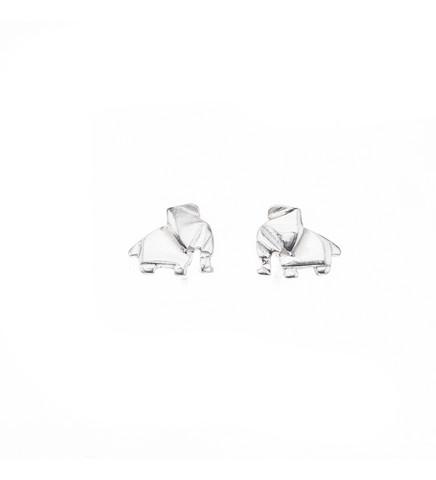 Silver Bar- Origami elefant, hopeakorvakorut