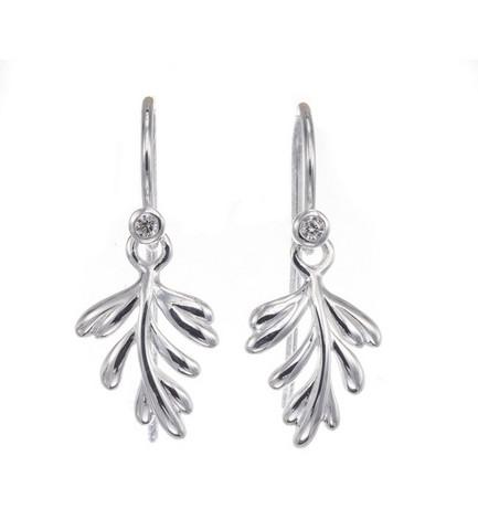 Silver Bar- Lehti luxuskoukulla, hopeakorvakorut