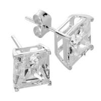Silver Bar- CZ 10x10, hopeakorvakorut. UNISEX
