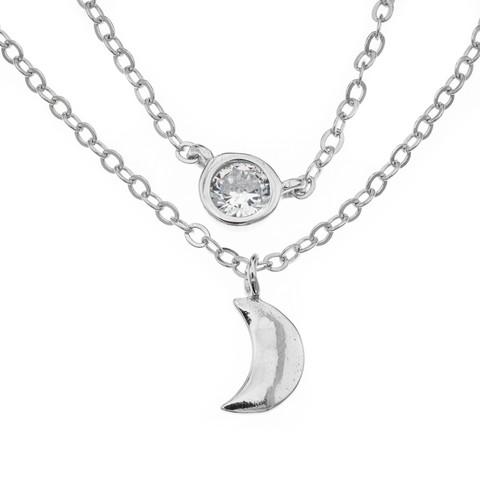 Silver Bar- Tuplaketju cz+kuu, hopeakaulakoru