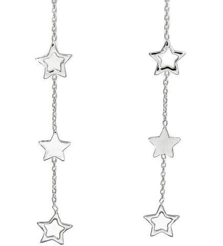 Silver Bar- Star x 3 ketjulla, hopeakorvakorut