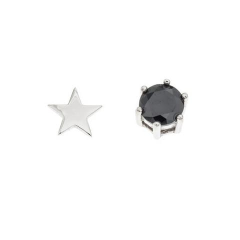 Silver Bar- Tähti ja musta 5mm. Hopeakorvakorut