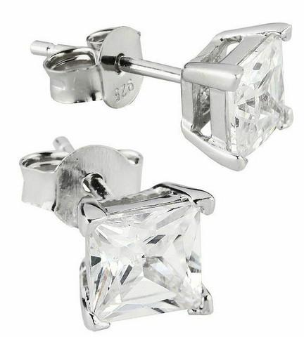 Silver Bar- Kirkas, hopeakorvakorut 4x4mm
