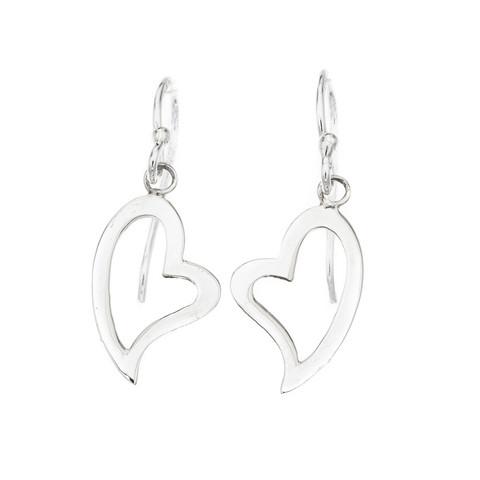 Silver Bar- Riippuva sydän, hopeakorvakorut