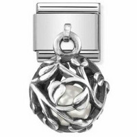Nomination Italy- Classic SilverShine Charms white pearl leaves