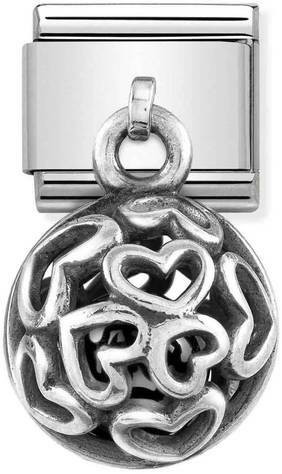 Nomination Italy- Classic SilverShine Charms black pearl leaves