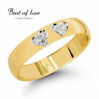 Beat of Love -Timanttisormus, tuplasydän keltakulta 4mm