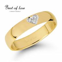 Beat of Love -Timanttisormus, sydän keltakulta 4mm