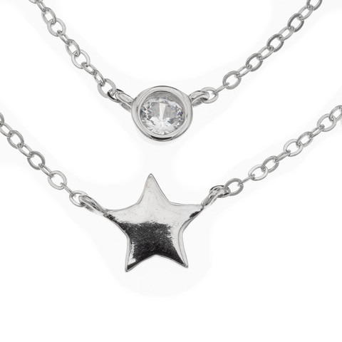 Silver Bar- Tuplaketju cz, hopeakaulakoru