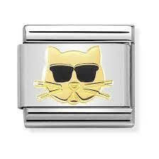 Nomination Italy- Classic, Gold Cat with Sunglasses