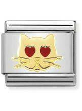 Nomination Italy- Classic, Gold Cat with Heart Eyes
