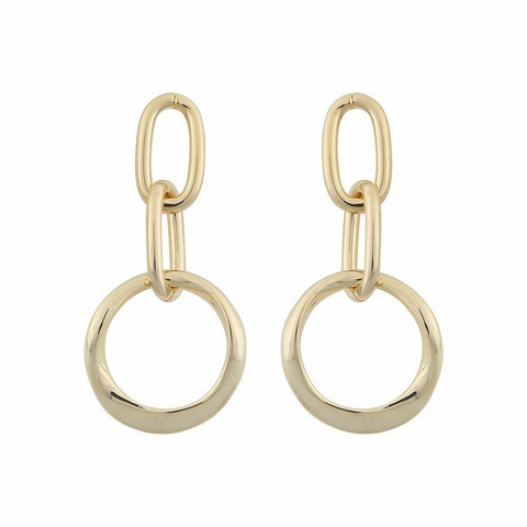 Snö of Sweden- Blanche Round Pendant Earring Gold