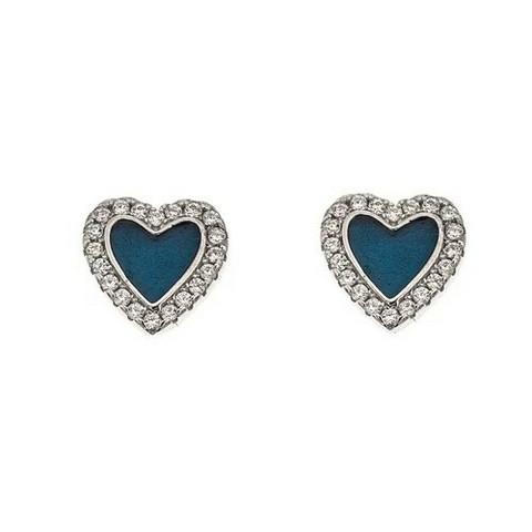 Classic silver- Heart enamel, hopeakorvakorut.