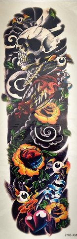 Skull and yellow roses XL