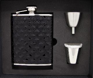 Taskumatti- teräs/musta keinonahka+2 kuppia ja tratti, lahjapakk.