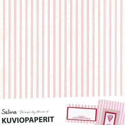 Selina kuviopaperi, Roosaraita A4 / 5 kpl