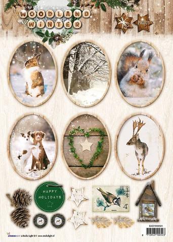 Korttikuvat stanssattu Wooden Winter
