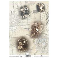 Kaunis postikortti/lapset pergamenttipaperi A4
