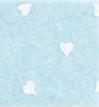 Askarteluhuopa sydänkuosi, vaaleansininen/valkoinen