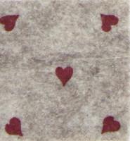 Askarteluhuopa sydänkuosi, beige/punainen
