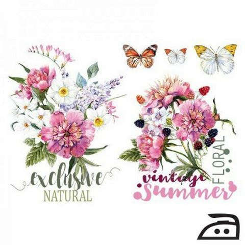 Silitettävä siirtokuva kukat ja perhoset