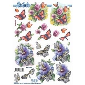 3D-arkki, kukat ja perhoset / stanssattu