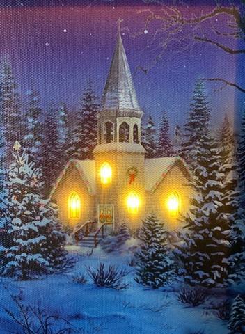 Pikku led-taulu kirkko
