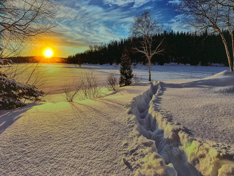 Led-taulu talvinen aurinko (ajastin)
