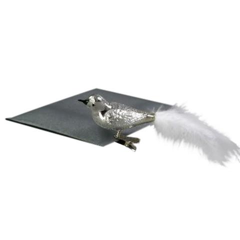 Lintu klipsi kiinnitys, hopea, lasia (3kpl)